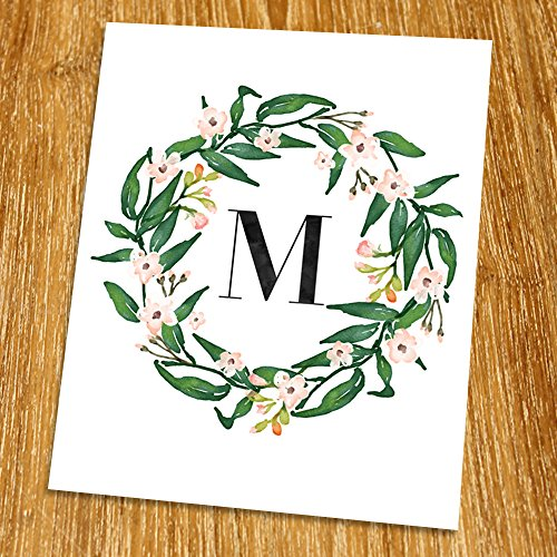 M Monogram Print (Unframed), Nursery Wall Art, Flower Letter, Floral Alphabet, Living Room Decor, Initial Print, Typography Print, Watercolor, 8x10