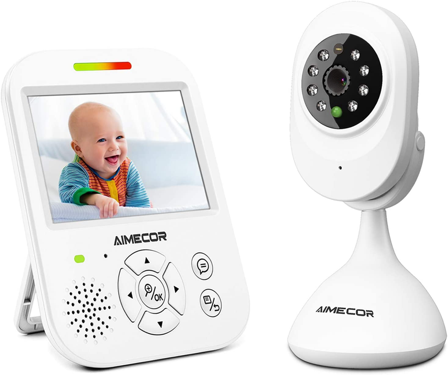 Video Baby Monitor with Camera – 3.5 inch IPS Display,HD Night Vision Camera, 960ft Transmission Range, Temperature Monitoring,Include Compatible Mount Shelf Baby Monitor