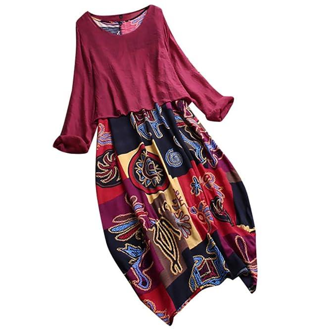 ZOMUSAR 2019 Dress Women Vintage Print Patchwork O-Neck Two Pieces Plus Size Pockets Maxi Dress