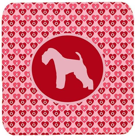 3.5 H x 3.5 W Carolines Treasures SDK1044-A-FC Lakeland Terrier Valentine Hearts Foam Coasters Set of 4 Multicolor