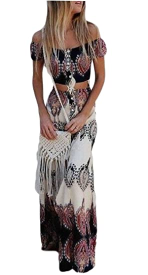 3767639702c026 WSPLYSPJY Women's Casual Boho Crop Top Maxi Skirt Set 2 Piece Outfit Flowy Maxi  Dress at Amazon Women's Clothing store: