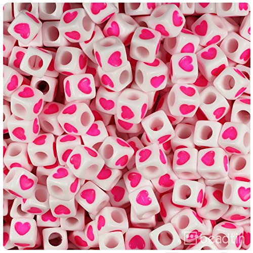 BeadTin White Opaque 7mm Cube Heart Beads - Pink (100pcs) Pink Heart Bead