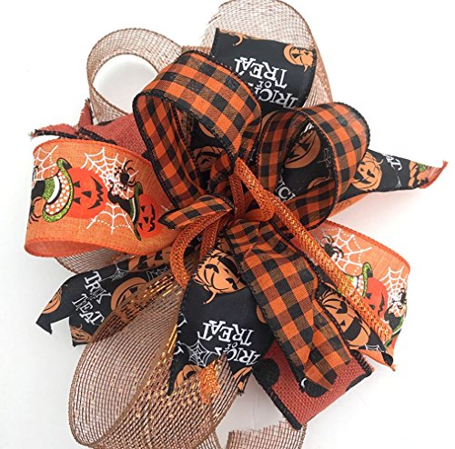 Whimsical Halloween pumpkin bow for wreaths, mantle bow, lantern bows, holiday bows, ribbons, wedding bows, holiday decor, Halloween decor