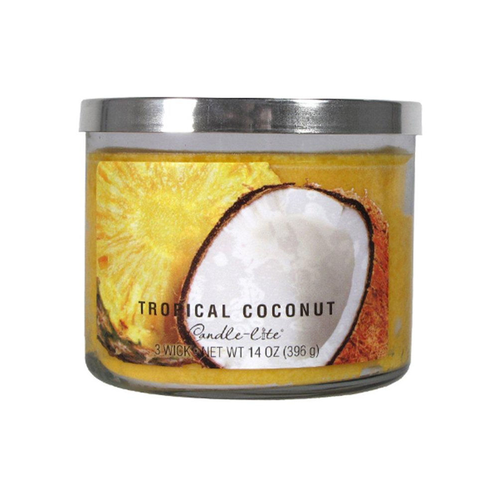 Candle-Lite 3 Wick Candle Jar- Tropical Coconut (14 Oz) 364632 Candlelite