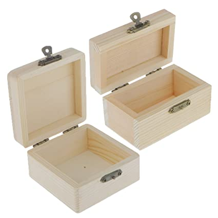 Dovewill 2pcs Small Unfinished Unpainted Natural Wooden Box With Hinged Lid Lidded