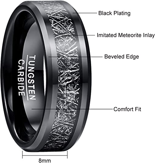 Distressed black hammered tungsten band with fordite inner liner