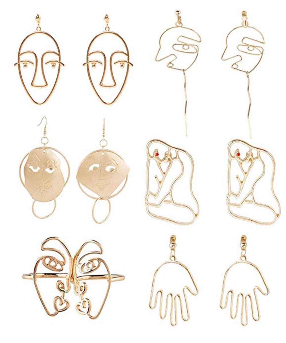 Ainiya Face Earring Set 6 Pair Gold Tone Earrings For Girls Teens Women Earrings Including Hollow Face Hand Shape Gold Statement Earrings