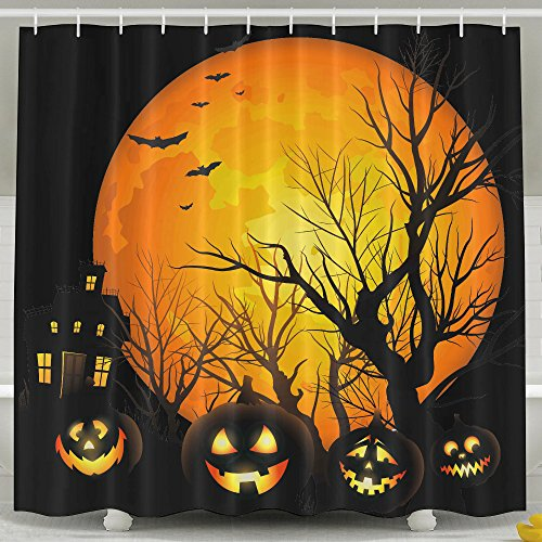 Fashion Custom Happy Halloween Theme Decoration Shower Curtain For Bedroom, Mildew Resistant Waterproof Digital Printing Polyester Shower Curtains With Adjustable Hook,72