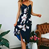 vermers Women Dresses-Summer Floral Bohemian Button Down Swing Midi Dress with Pockets