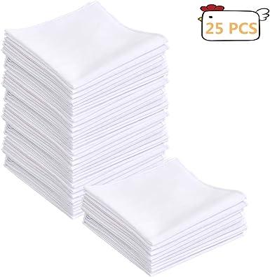 BUYGOO 25 Piezas Pañuelos Blancos para Hombres Algodón Bolsillos Cuadrados con Rayas Elegantes: Amazon.es: Ropa y accesorios