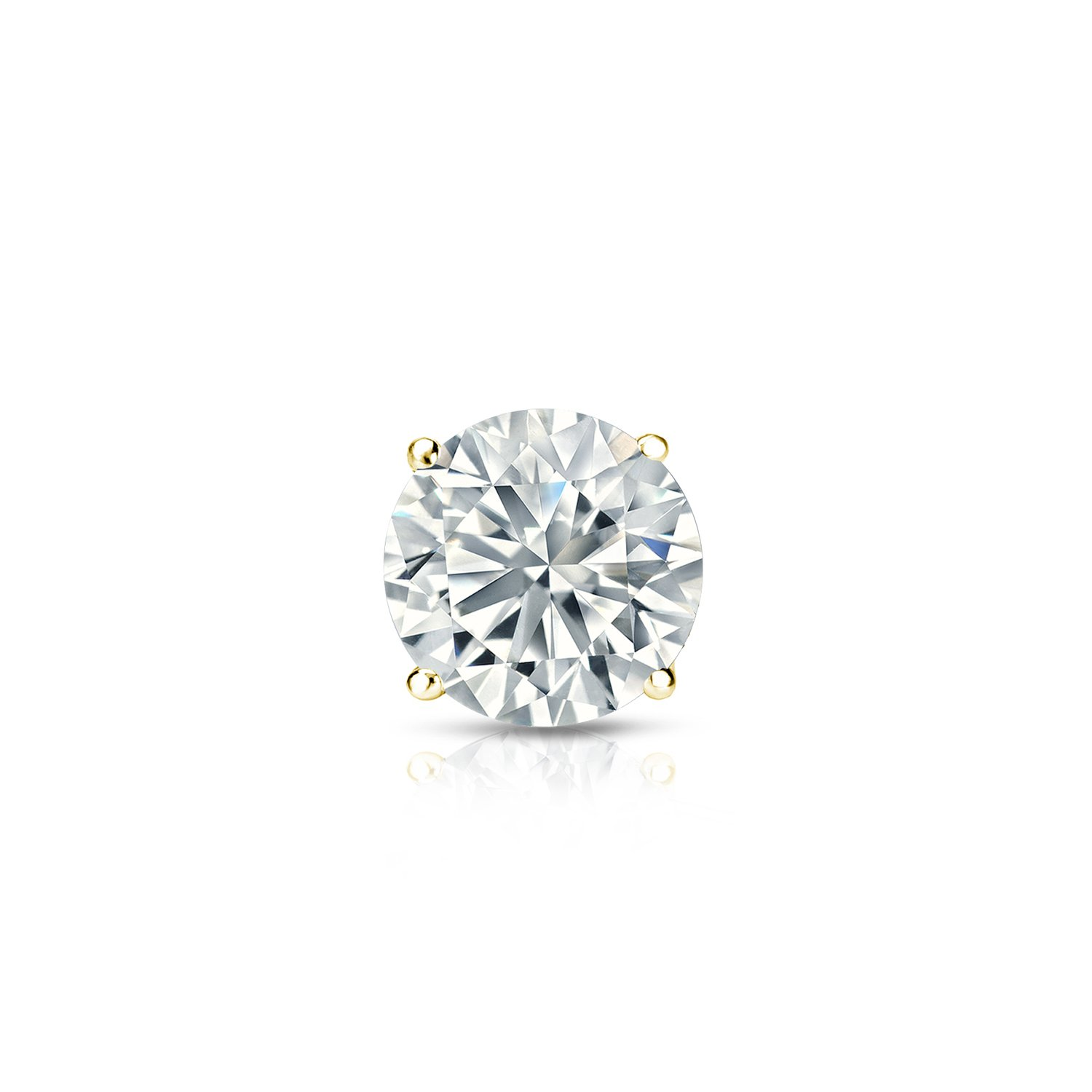 14k Yellow Gold Round Diamond Simulant CZ SINGLE STUD Earrings 3-Prong(3/8cttw,Excellent Quality)