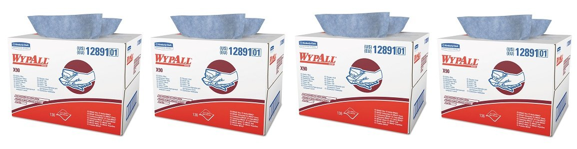 Wypall X90 Extended Use Wipers (12891), Reusable Wipes BRAG BOX, Blue Denim, 1 Box / Case, 136 Sheets / Box (4-(136 Sheets / Box))