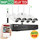 4CH Wireless 960P Network Security Outdoor IP Camera Built-in WIFI Module, 1.3MP High Resolution, Plug and Night Vision…