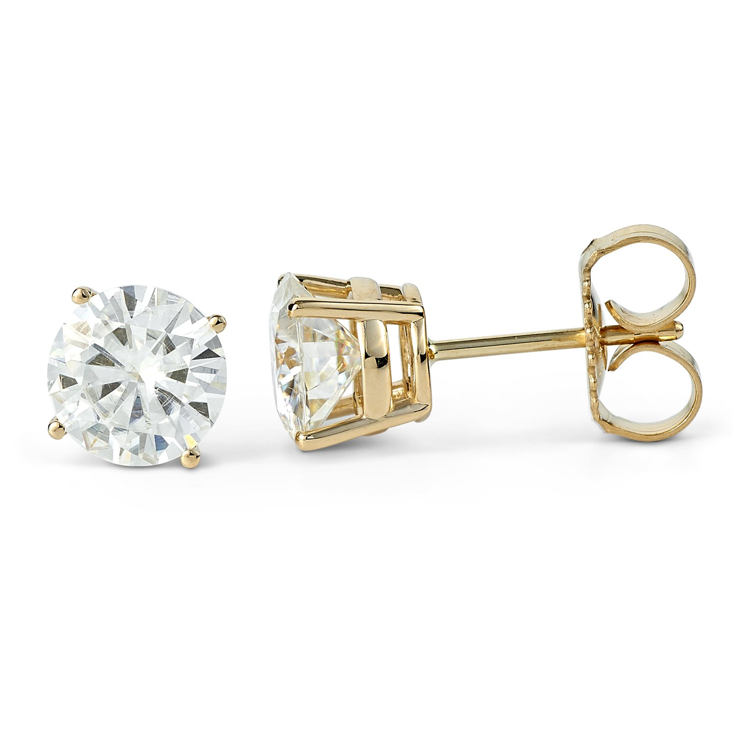 35064b96a Amazon.com: Forever Classic 6.5mm Round Moissanite Stud Earrings, 2.00cttw  DEW by Charles & Colvard: Jewelry