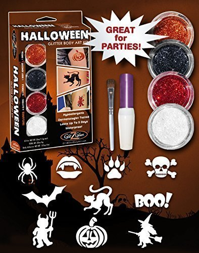Halloween Glitter Tattoo Kit - HYPOALLERGENIC and DERMATOLOGIST TESTED! -