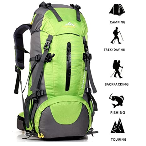 ONEPACK External Frame Hiking Backpack 50L Daypack Waterproof Outdoor Sport  Trekking Bag with Rain Cover for 0b141a5dd0
