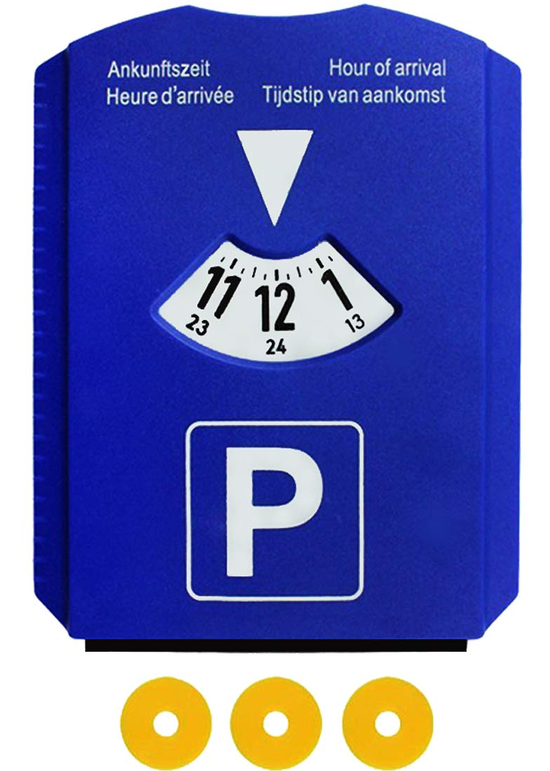 M & H 24 European Car Parking Timer Disc for Car Ice Scraper 3 Chips Basket Plastic Blue