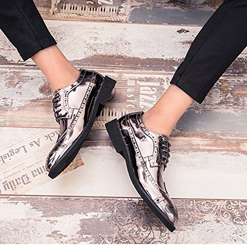 Grande Taille Formel Derby Affaires Occasionnels Brogues Uniformes Chaussures Lace Up Party Work Oxford Chaussures 39-46 Silver bUb3hjB0m