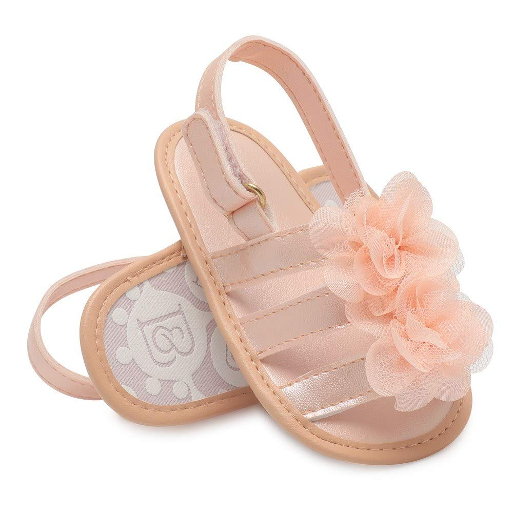 Infant Toddler Baby Shoes Girl Flower Sandals for Summer Soft Sole Non-Slip Prewalker Light Pink U.S Size 4