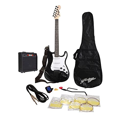 Johnny Brook Kit estándar de guitarra con amplificador 20 W de colores Combo – Color Negro