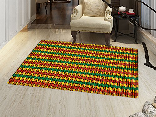 - smallbeefly Rasta Bath Mats Carpet Geometrical Zig Zag Triangle Inspired Shapes in Flag Colors Art Print Floor Mat Pattern Marigold Orange and Green