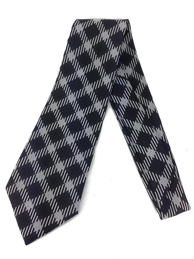 Retro Clothing for Men | Vintage Men's Fashion Diamond Vintage Tie - Jacquard Weave Wide Kipper Necktie Black Silver $19.90 AT vintagedancer.com