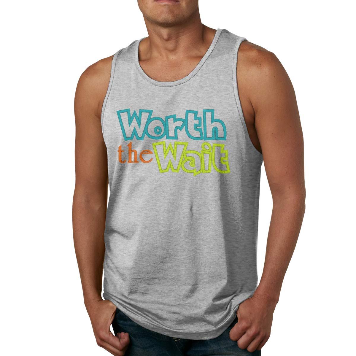 Worth The Wait Mens Cotton Undershirts Crew Neck Tank Tops
