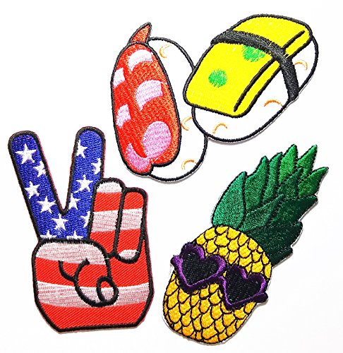 PP patch Set 3 Sushi Food Fish Nori Rice Japan patch , Pineapple Patch Fantasy patch , Holds two fingers American flags peace patch Kid DIY Applique Embroidery Iron on - Sushi Logo
