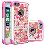 iPhone 5S Case, iPhone SE Bling Case, Pink Flamingo Collage Pattern Heavy Duty Shockproof Studded Rhinestone Crystal Bling Hybrid Case Silicone Protective Armor for Apple iPhone 5/5s iPhone SE