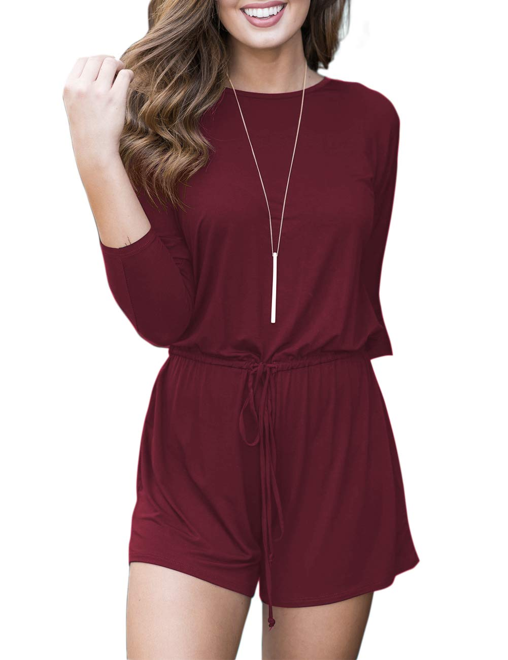MEROKEETY Women's Casual 3/4 Sleeve Shorts Rompers Jumpsuit with Drawstring