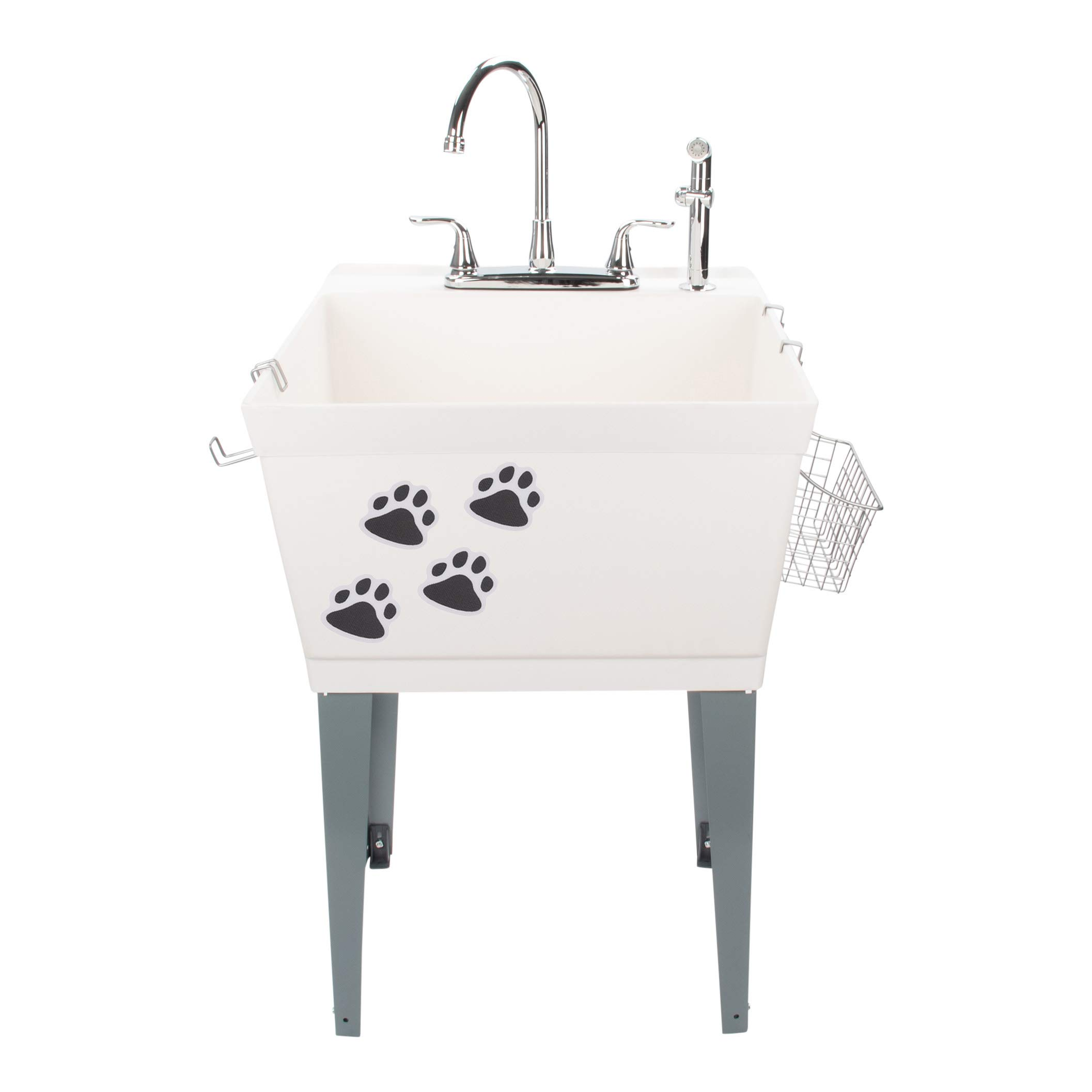 Laundry Sink Utility Tub With High Arc Chrome Faucet With Pet Friendly Accessories, Side Sprayer, Hooks, Baskets, Heavy Duty Sink With Reinforced Wall Bracket, Suitable for Washroom Garage Workshop