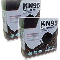 (20 PACK) Cubrebocas mascarilla KN95 NEGRO con 5 capas protectoras, empacado en bolsa individual