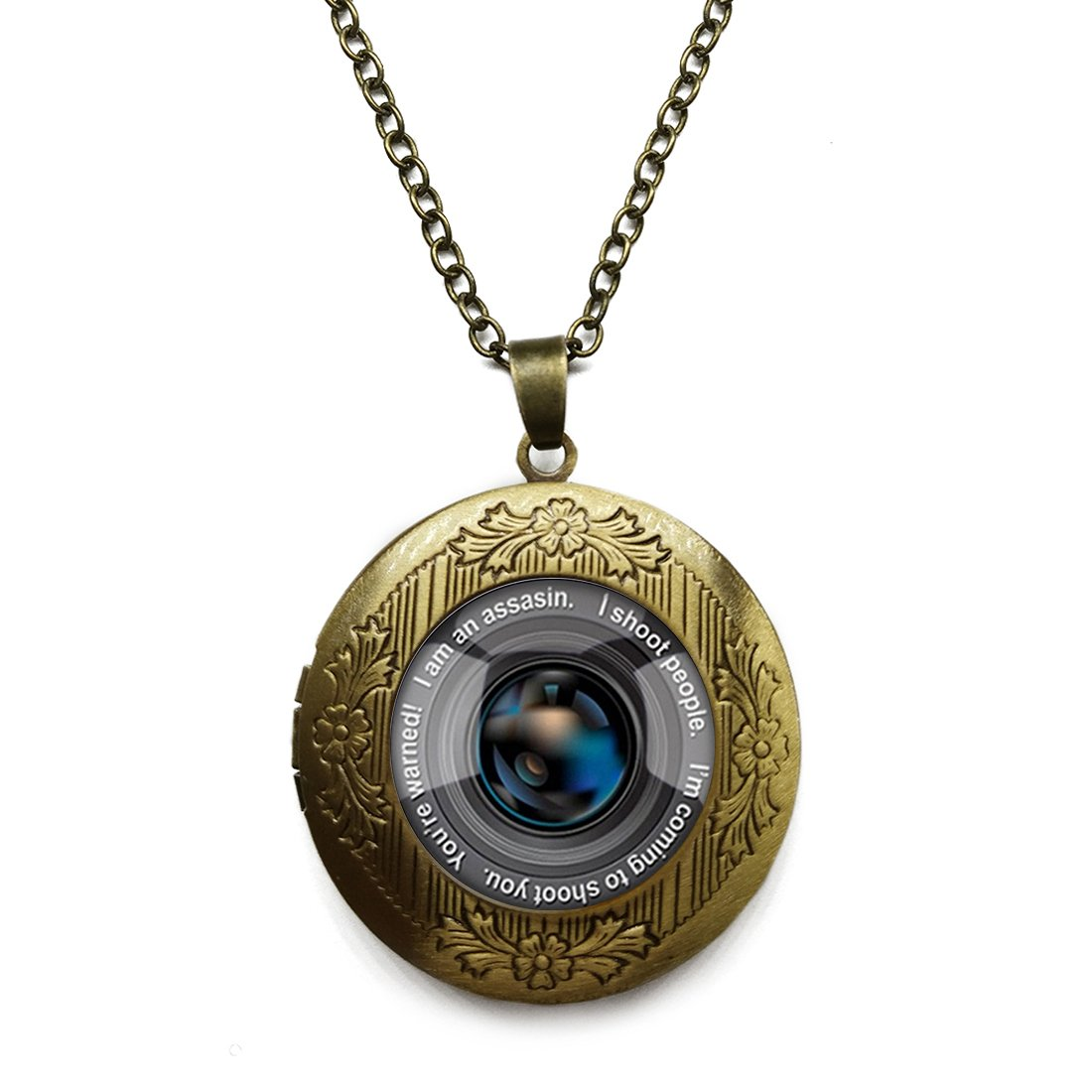 Vintage Bronze Tone Locket Picture Pendant Necklace Sweet Macaron Included Free Brass Chain Gifts Personalized
