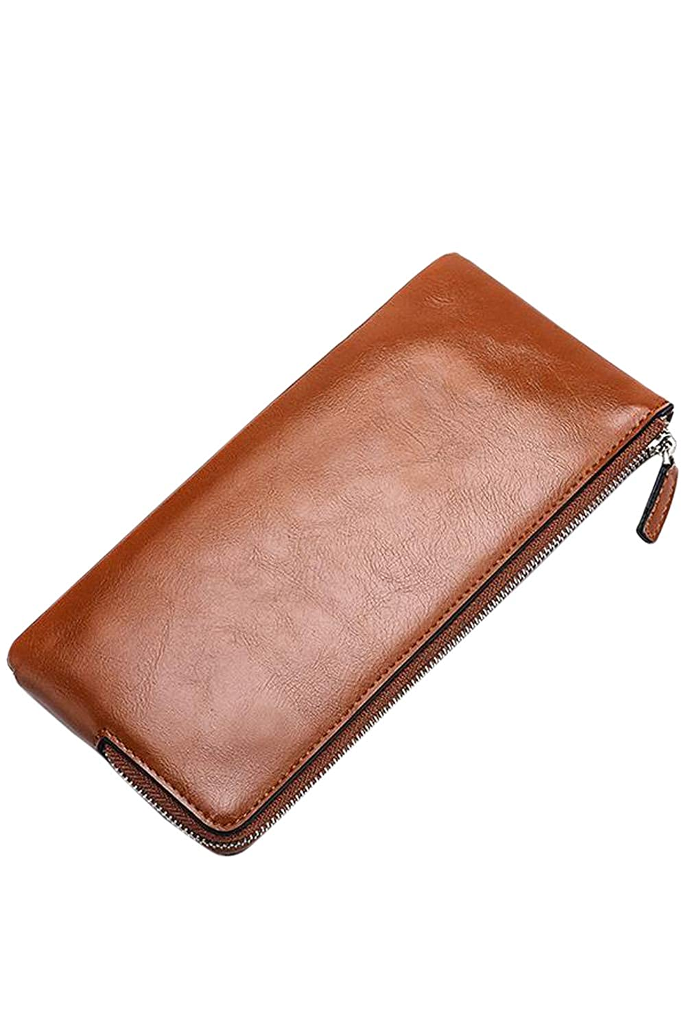 Men Slim Pu Faux Leather Bifold Wallet Phone Holder With Zipper