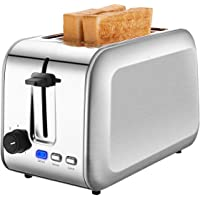 2 Slice Toaster, CUSIBOX Stainless Steel Toaster 2-Slice Wide Slot, with Defrost/Reheat/Cancel and Removable Crumb Tray
