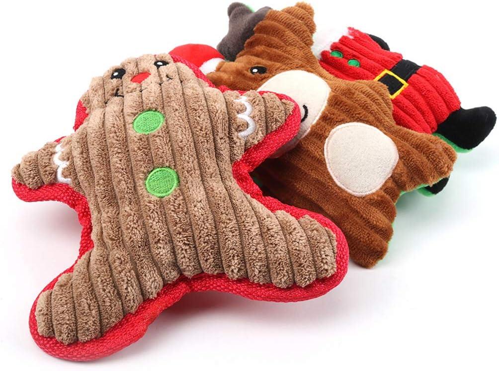 Dorakitten Dog Toys Christmas,3pcs Dogs Squeak Toys Christmas Chew Toy For Dogs Plush Toys Puppy Teething Toy dogs soft toys for Medium Dogs.