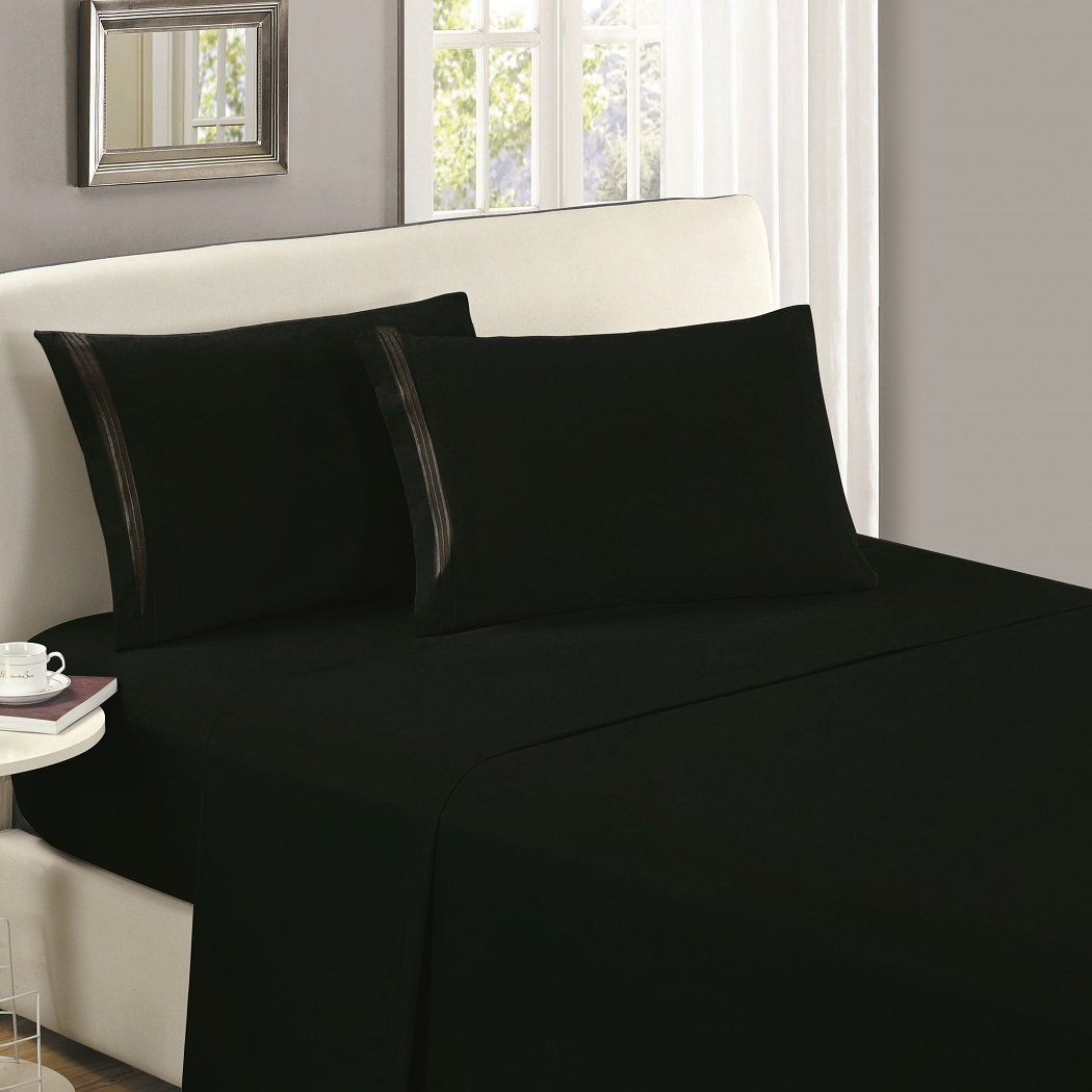Mellanni Flat Sheet Queen Black - HIGHEST QUALITY Brushed Microfiber 1800 Bedding Top Sheet - Wrinkle, Fade, Stain Resistant - Hypoallergenic - (Queen, Black)
