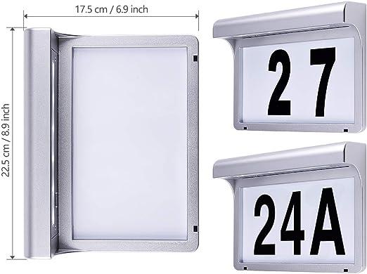 num/éro de maison et chiffres /Éclairage mural /à 6 DEL /à /énergie solaire et /étanche pour plaque de porte
