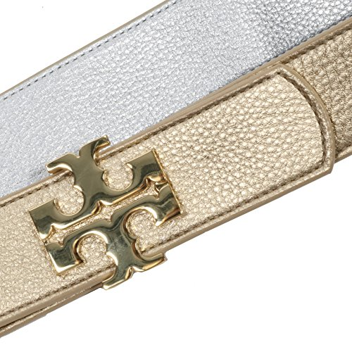 Tory Burch Reversible Belt 1 1/2'' Leather TB Logo Gold Silver (M) by Tory Burch