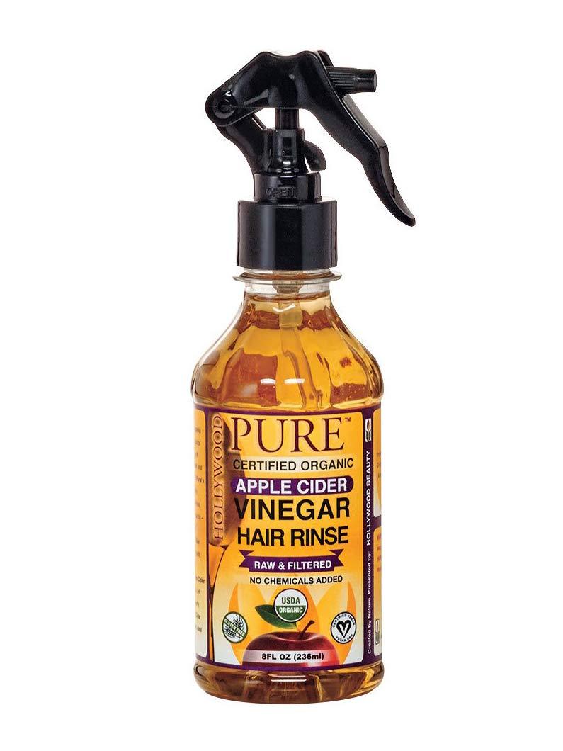 Hollywood Beauty pure organic apple cider vinegar hair rinse with spray 8 fluid ounce, Brown, 8 Fl Oz