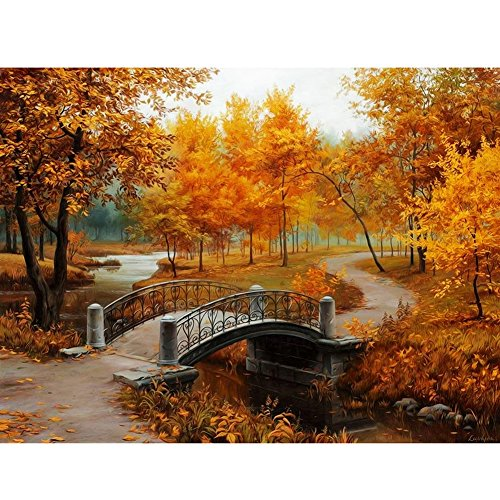 (Whitelotous Autumn Scenery DIY Digital Canvas Oil Painting Paint by Number Kit Home Wall Art Decor 40 x 30 cm)