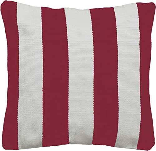 Fab Habitat Outdoor Throw Pillow Cover – 20 x 20 Handmade Decorative Large Accent Cushion Cover, No Fill Modern Neutral Designs – Mix Match Nantucket – Red and White