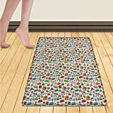 WolfgangDecor Doodle Bath Mats for bathroom Various Home Interior Elements Armchair Table Mirror Design Elements Doodle Style Door Mats for inside Non Slip Backing 24''x36'' Multicolor