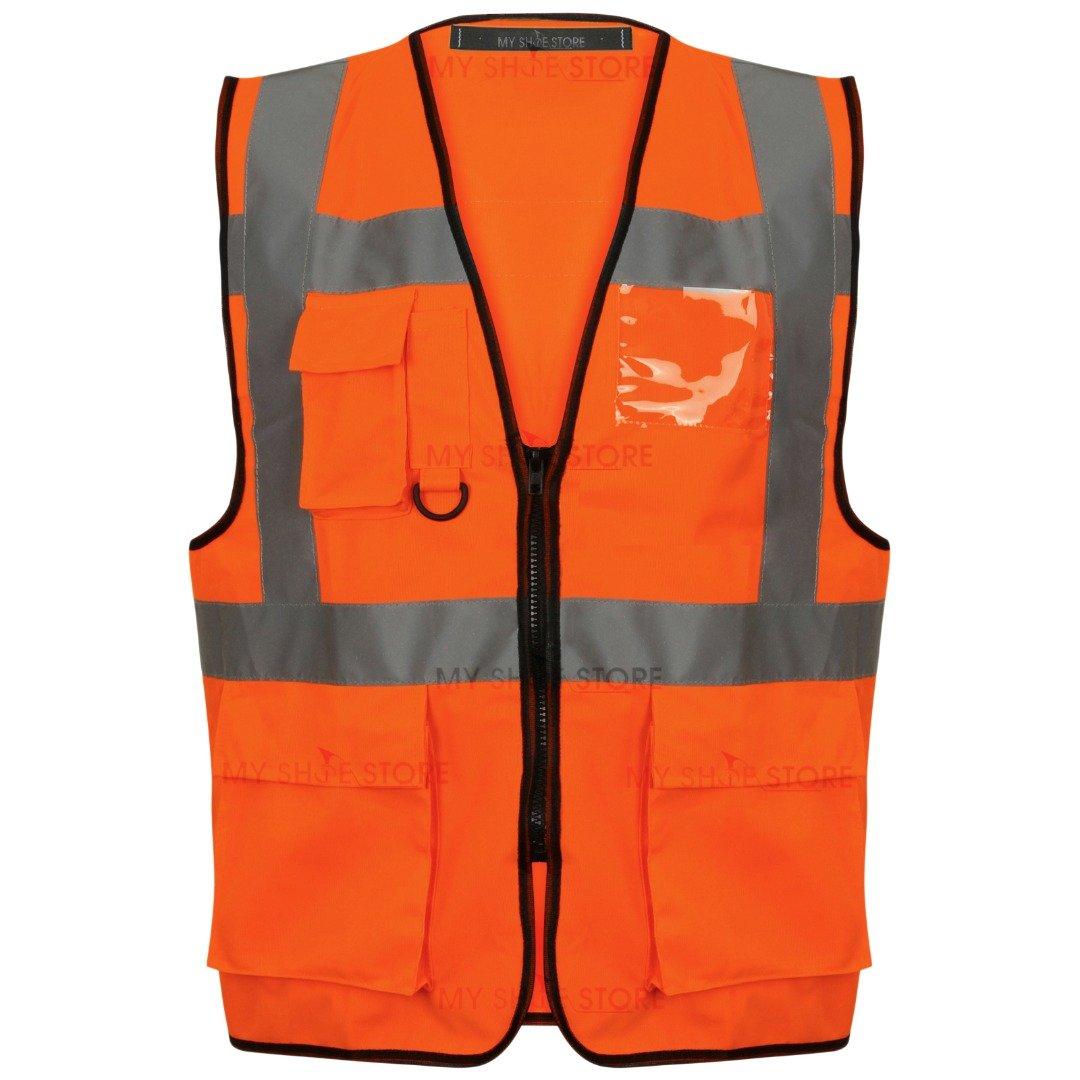 Executive Hi Viz Vis Vest Chaleco de alta visibilidad, de cremallera, 2bandas reflectantes, de traba...