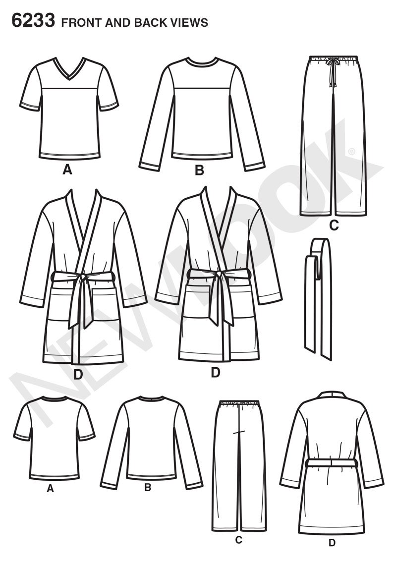 X-Small-Small-Medium-Large-X-Large A Robe and Knit Tops Simplicity Creative Patterns New Look 6233 Unisex Pants
