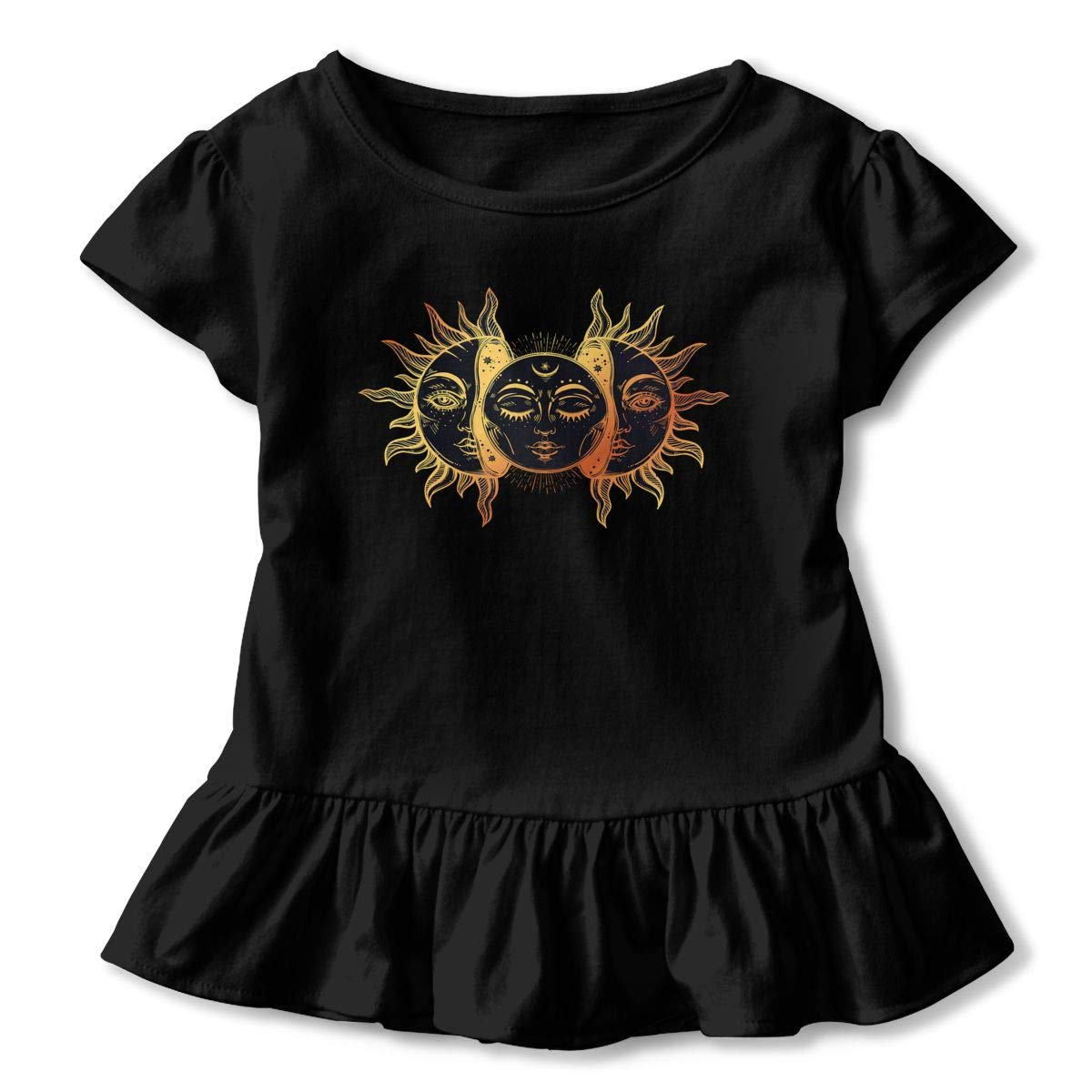 Celestial Moon and Sun with Faces Toddler Baby Girls Short Sleeve ONeck Basic Shirts with Printed Designs in Front for School Birthday Party Gifts Ruffles Top Black