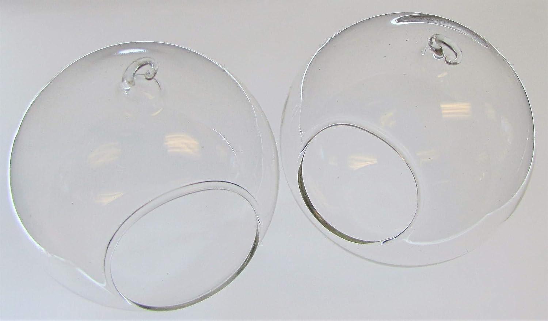 Set of 2, Hanging Round Glass Globe Terrarium Air Plant Planter 4 Inches 10 Cm
