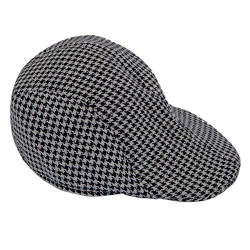 TOOGOO(R)Hommes Tweed Laine a Chevrons Plat Chapeau Pointe Chapeau avec doublure matelassee - Noir & Gris