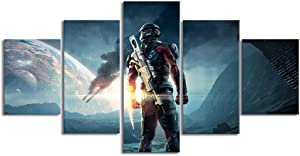 YGYT Wall Art Modular Canvas Pictures Home Decor 5 Piece Mass Effect Andromeda Video Game Painting Prints Poster Living Room Frame