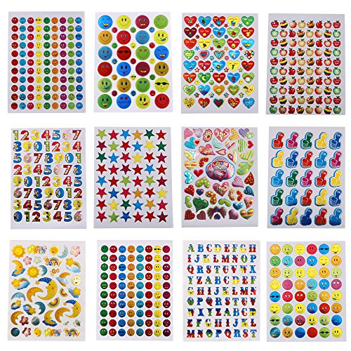 (M-Aimee 7060 Pieces Teacher Stickers for Kids, Reward Stickers Mega Variety Pack, Incentive Stickers for Teacher Supplies Classroom Supplies Including Heart, Smiley Face, Star, Moon, Apple)